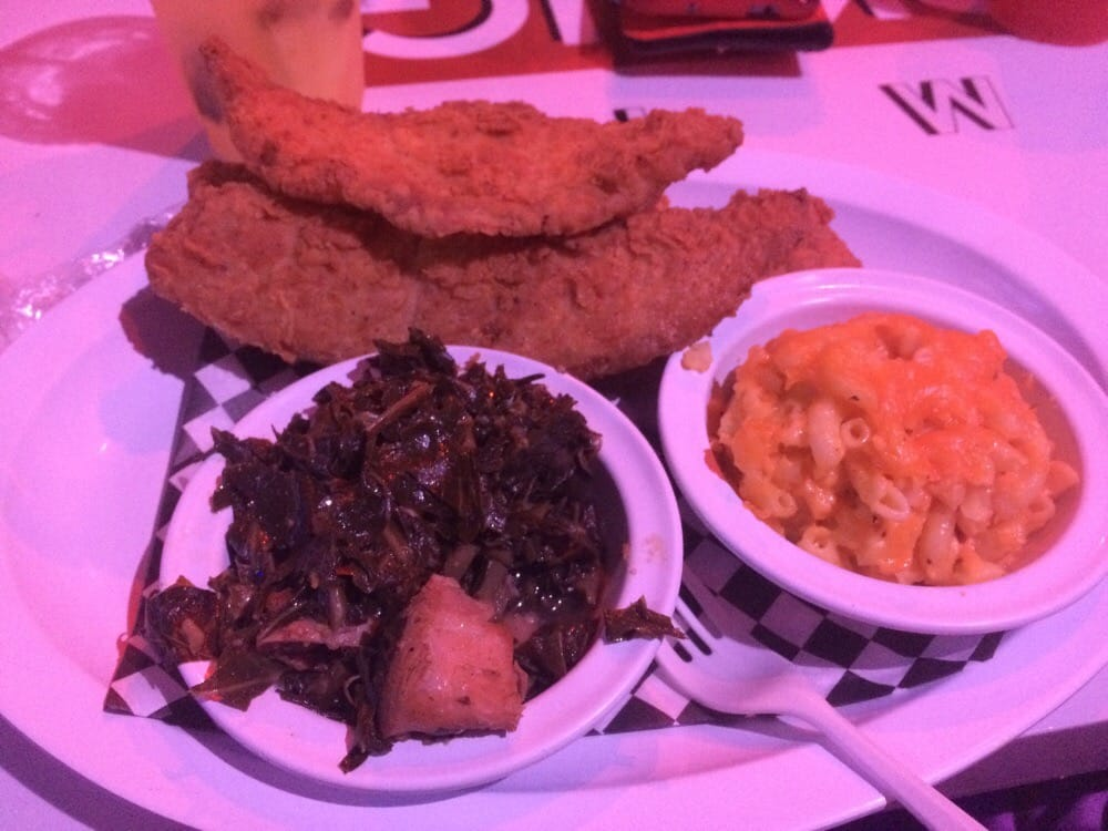 Fried Fish Dinner With Two Sides Mac N Cheese And Collard
