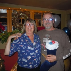 Espresso Italian Grille & Pub - Our waitress Kathleen with a customer who won a stocking with over $300.00 worth of prizes! Merry Christmas - Gloucester, MA, Vereinigte Staaten