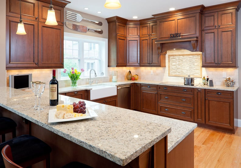 Kitchen Counters In Giallo Ornamentale Granite With Eased
