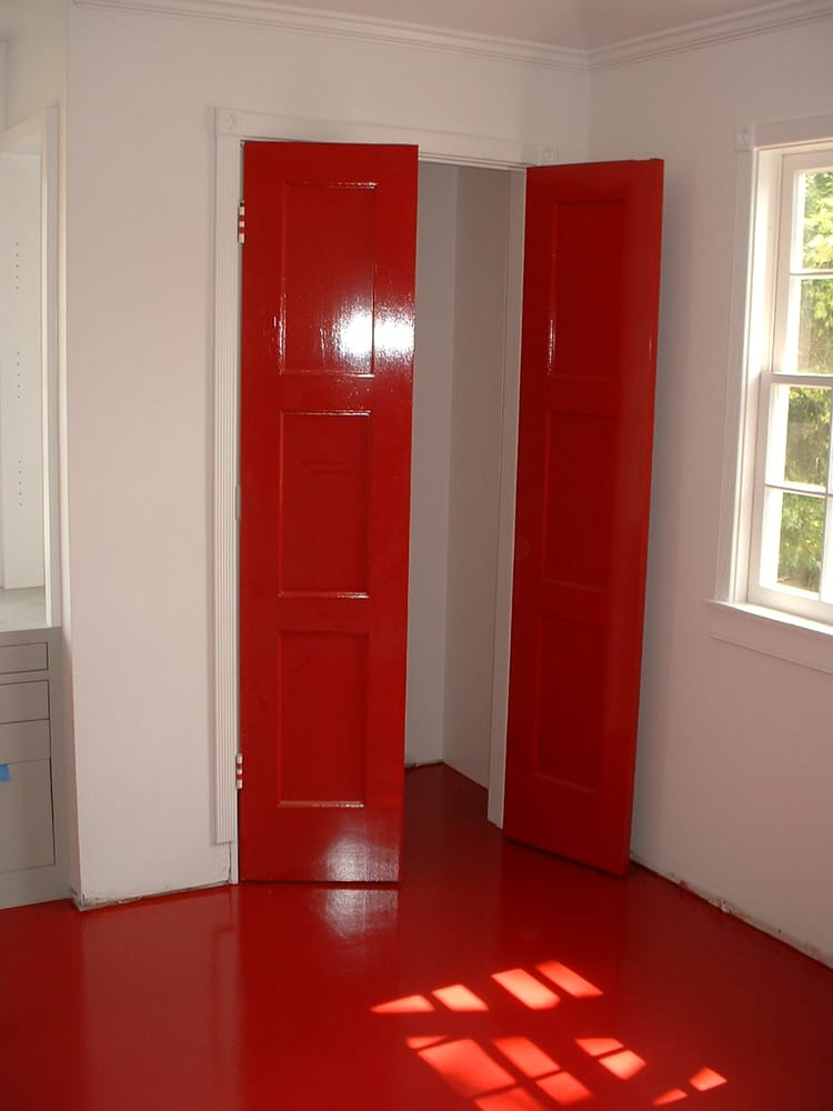 Red high gloss closet doors and red wood floor yelp for Custom closet doors los angeles