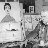 The artist, LS Lowry, drinking a cup of tea