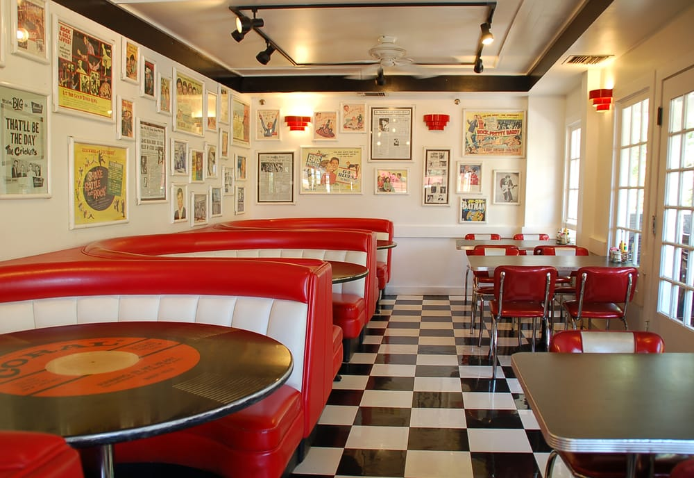 50 39 s style diner interior with record shaped tables yelp for Diner interior