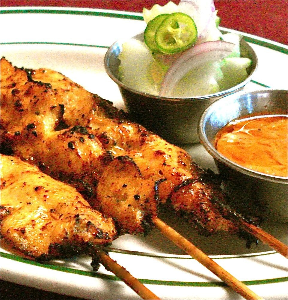 Chicken Sate with peanut sauce and cucumber salad | Yelp