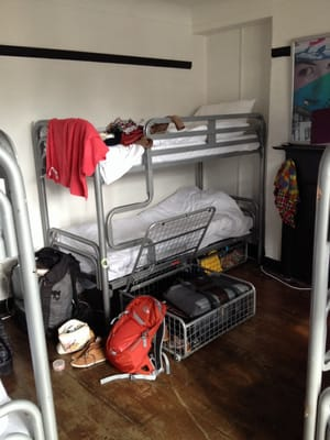 Bunk beds in room 8 (female only dorm), with big under bed lockers