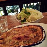 Crab, gruyere and brocoli gratin with a side of savoy cabbage