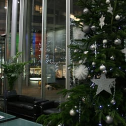 Good Elf Christmas tree delivery - 25 foot Christmas tree for a Bank in EC1 - London, United Kingdom