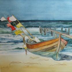 Boot am Strand - Aquarell von Frank…