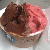 Chocolate and strawberry sorbets