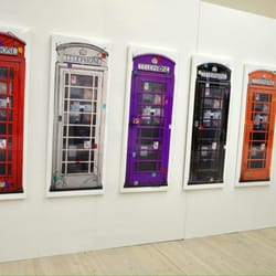 Coloured phone boxes.