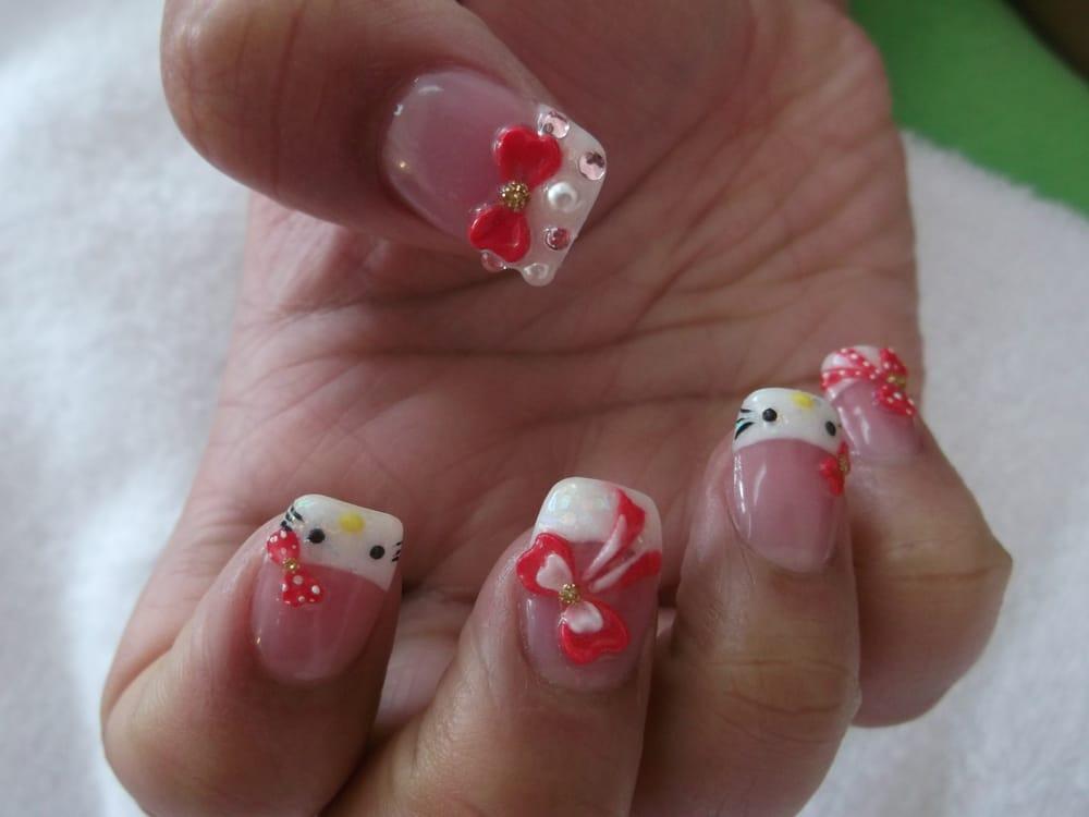 Hello kitty 3d nail art yelp for 3d nail art salon