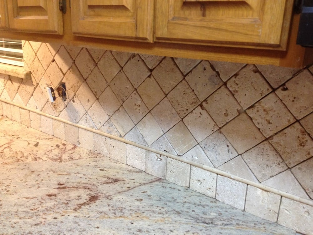 4x4 Travertine Tile Backsplash