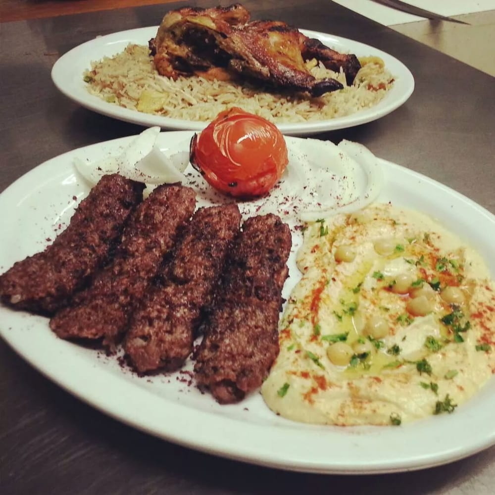 Beef Kabobs Plate Beef Kabob Plate With Hummus