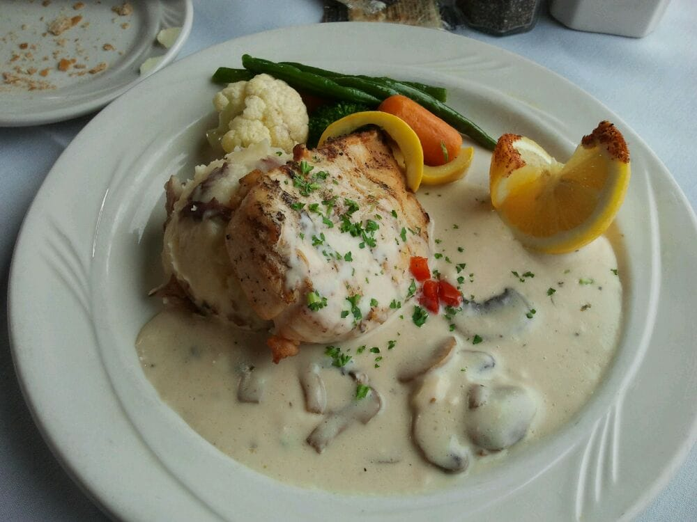 Tilapia Picatta with mashed potatoes and veggies. | Yelp