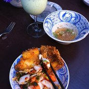 Fried fish appetizer with nuoc cham.