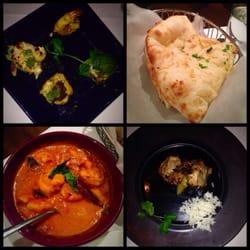 Devi - New York, NY, États-Unis. Groupon tasting menu appetizer, naan, curry shrimp and lamb chop