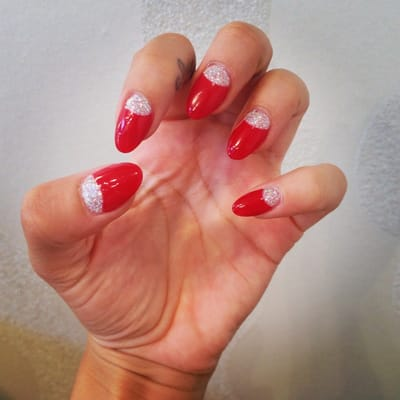 Red round acrylics with silver glitter half moons. | Yelp