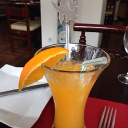 Very good pressed orange juice with lovely presentation.