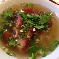 Close up of BBQ Duck noodle soup