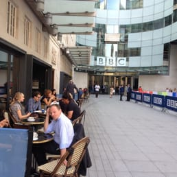 Enjoy your coffee outside the BBC with the famous folk (somewhere amongst those people, I just spotted a Hairy Biker!)