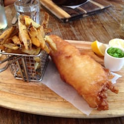 """Classic fish and chips, mushy peas; sustainably sourced and very British"""