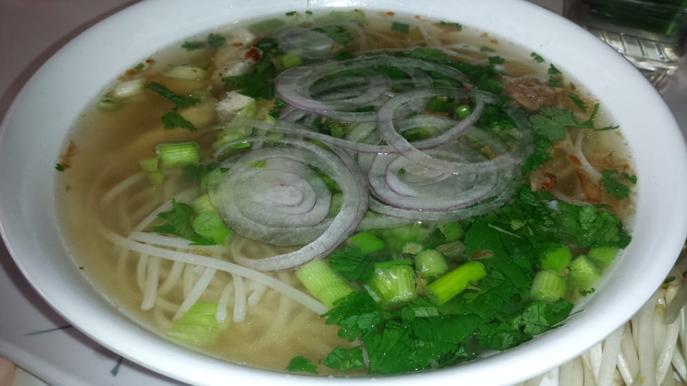Chicken pho: rice noodles, onions, cilantro, bean sprouts, basil, msg ...