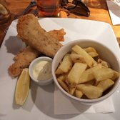 Fish and chips - nice and crispy with a tasty side of pea mash