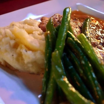 ... ginger apple butter sauce, fresh green beans, & hand mashed potatoes
