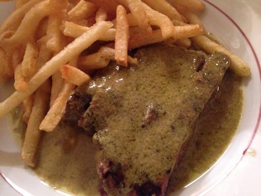 Steak frites (half portion, as the other half is being kept warm, and more fresh fries are coming).