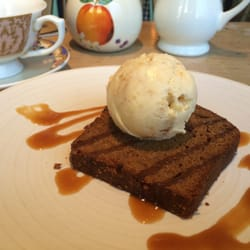 Gingerbread with ginger ice cream. Touch…