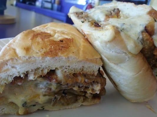 Heart Attack Sandwich: Chicken Fried Steak, grilled mushrooms & onions ...