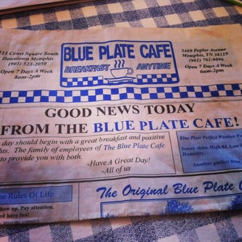 Blue Plate Cafe Memphis Breakfast Menu