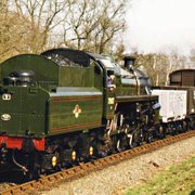 BR Standard class 4 loco 75027 with a demonstration goods train on the Bluebell Railway