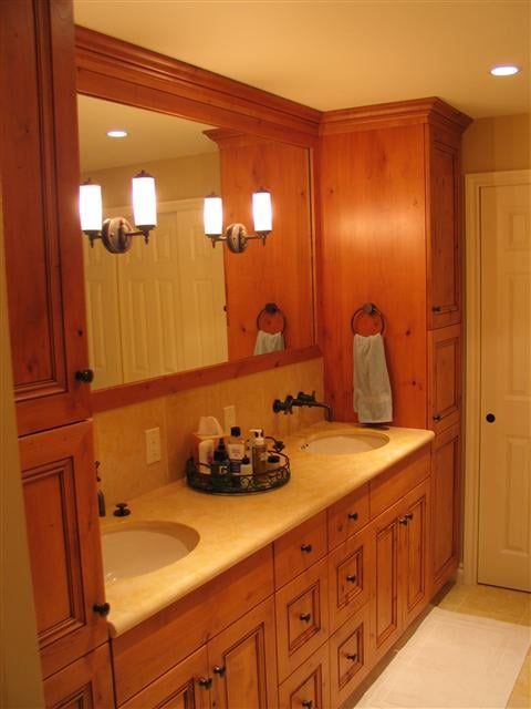 More storage and traditional frameless knotty alder for Bathroom cabinets yelp