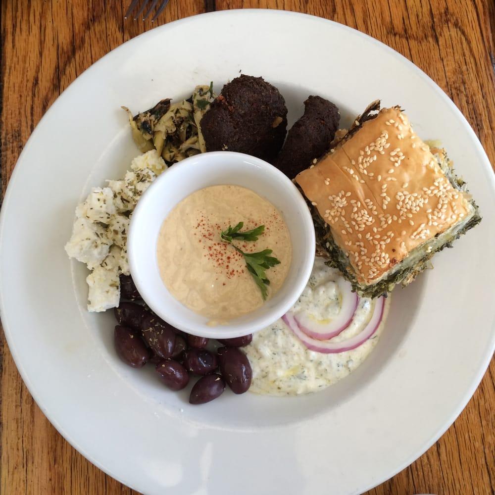... hummus, falafel, spanakopita, feta cheese, Kalamata olives (and pita