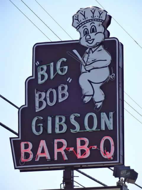 Big Bob Gibson Bar-B-Q - Decatur, AL, United States. You know it's AWESOME Bar-B-Q when there's a dancing pig on the sign.