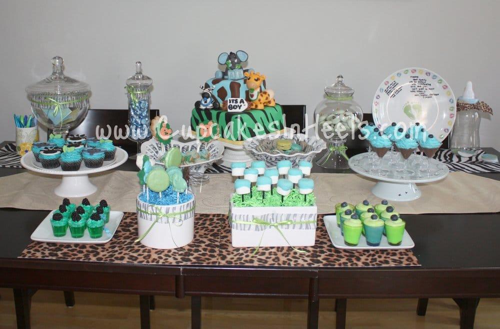 baby shower safari jungle theme in colors aqua blue and apple green
