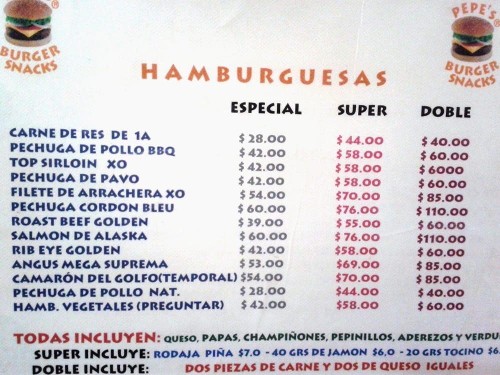 Pepe's Burger Snacks - México, D.F., México. Menú de las hamburguesas Pepe's.