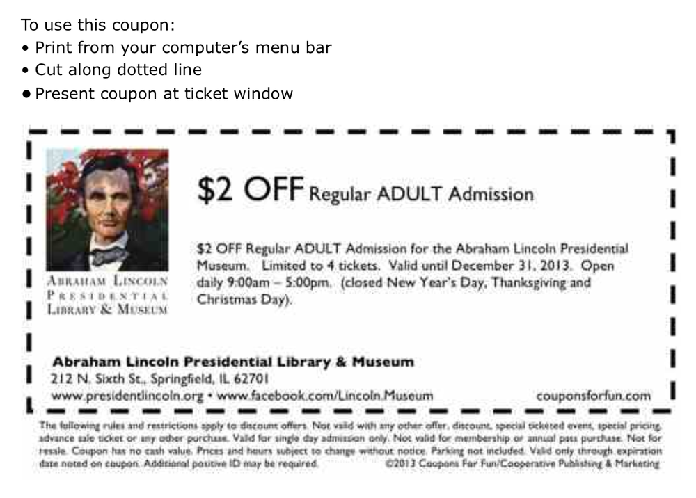 Abraham lincoln museum springfield il coupons
