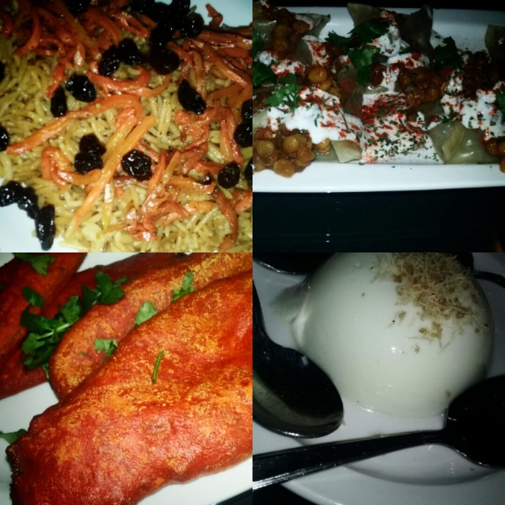 Mantoo and rosewater dessert and sides yum thanks for Aria persian cuisine