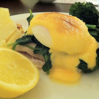 Smoked Haddock, Poached Egg, Wilted Spinach, with sides of beans, broccoli and potato dauphinoise