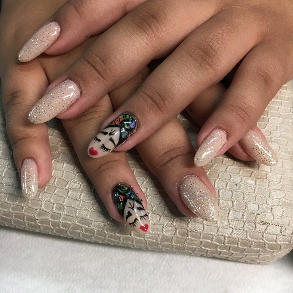 Hard Gel Over Natural Nails Hand Painted Nail Design Yelp