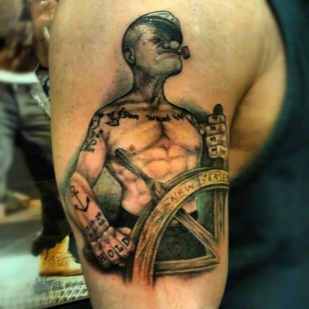 Popeye tattoo by cj yelp for Looking glass tattoos