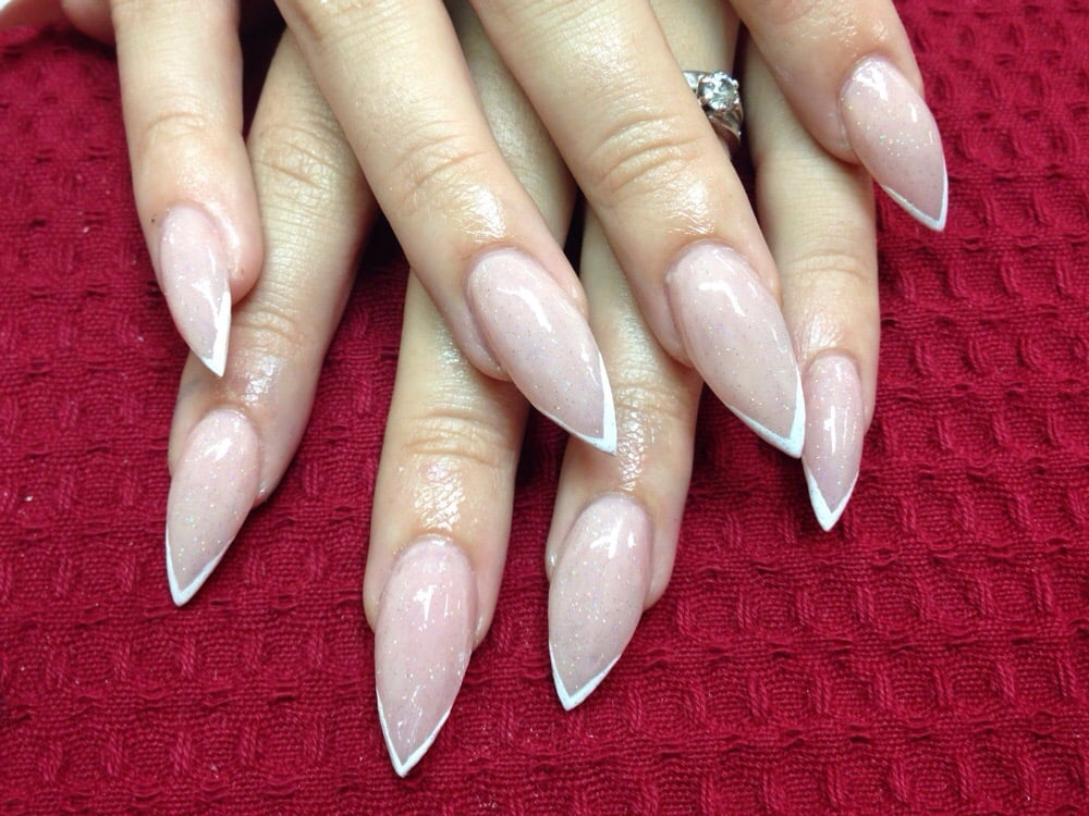 Pink stilettos with a very thin french tip by sharlene yelp for 50th avenue salon quartz hill ca