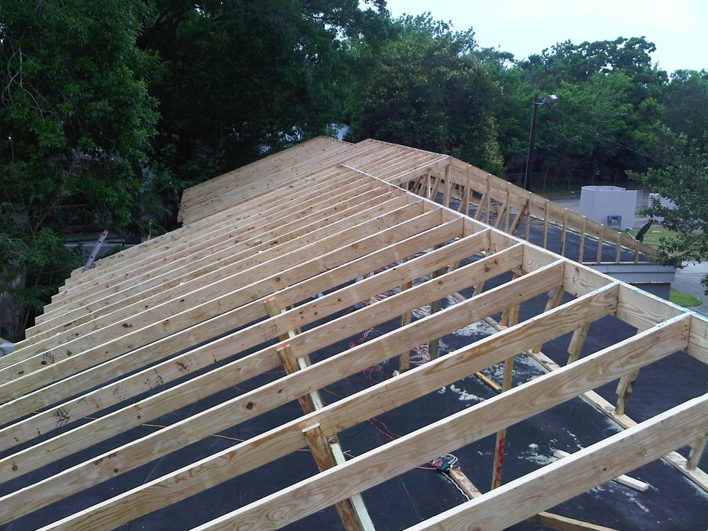 Flat Roof Framing : Commercial roofing roof framing from flat to a pitch