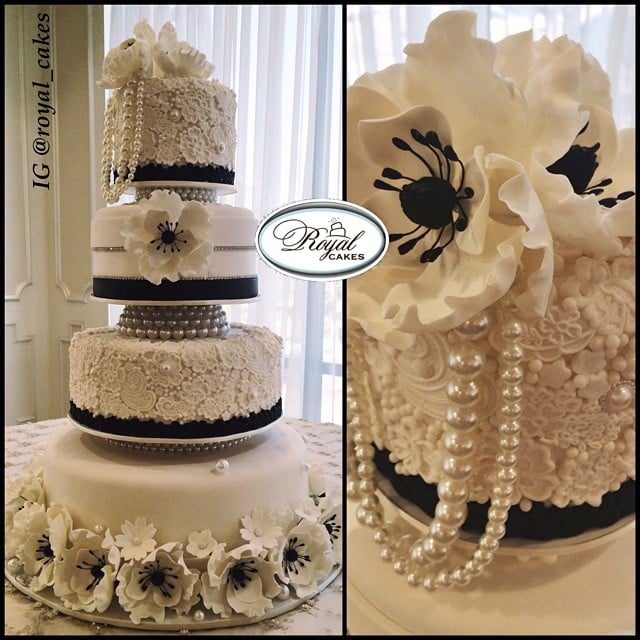 Champagne & Pearls Wedding Cake. Sugar Anemones, Lace ...