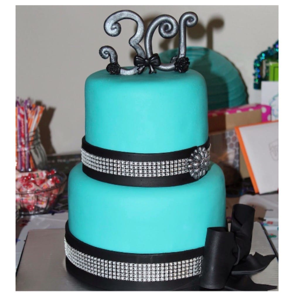 Teal Black Bling 30th Birthday Cake 91215 Yelp