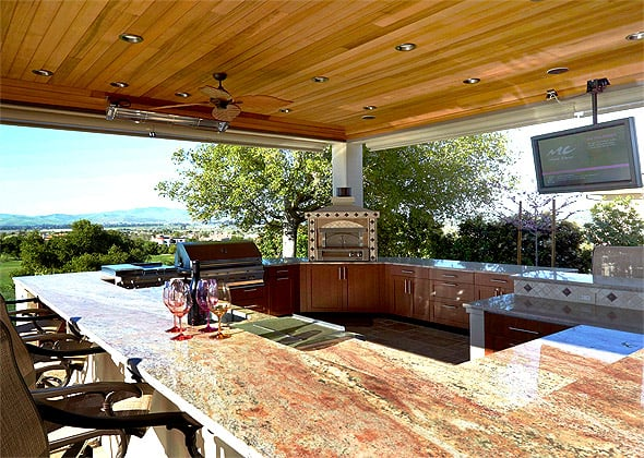 Perfect For Parties This Outdoor Kitchen Is Great For Entertaining Complete With Ceiling