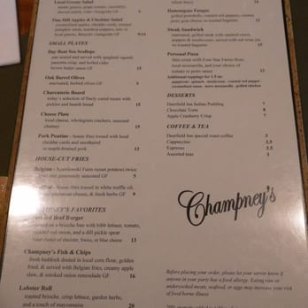 Champneys Forest Mere Food Menu
