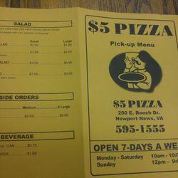 P O Of 5 Dollar Pizza Newport News Va United States