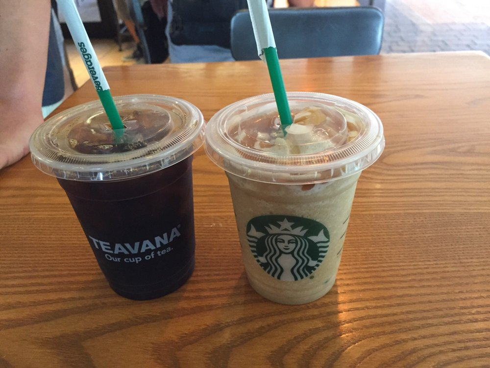 Iced Black Coffee For Babe And Caramel Frappuccino Me